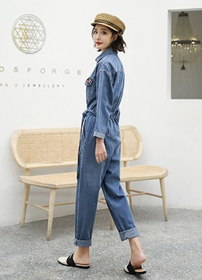 MWP9021 长袖胸章牛仔连体裤