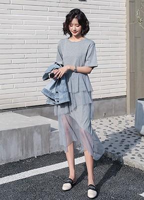 MWD9061C 网纱短袖连衣裙【主推爆款】