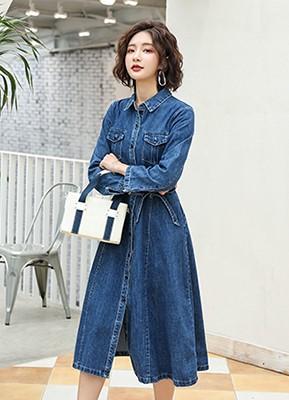 MWD8056 长袖牛仔连衣裙(停产)