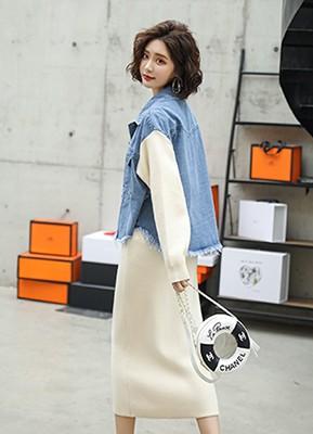 MWS8059A 拼接牛仔外套+针织半身裙两件套
