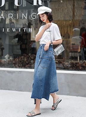 MWD9034 不规则个性牛仔半身裙(停产)