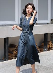 MWD9095 V领牛仔连衣裙