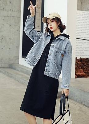 MWS8038牛仔短外套+长款连帽连衣裙两件套(停产下架)