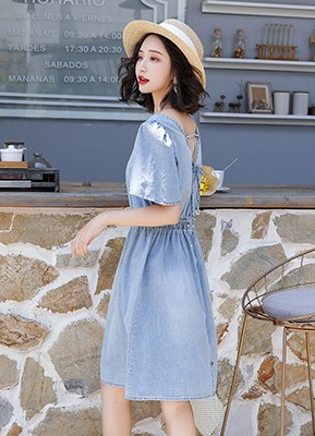 MW9156 短款露背牛仔连衣裙