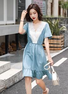 MW9171 V领蕾丝牛仔连衣裙