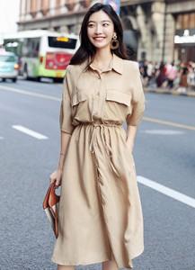MW9176P 衬衫款短袖连衣裙