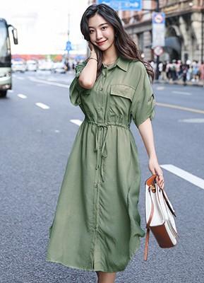 MW9176H 衬衫款短袖连衣裙