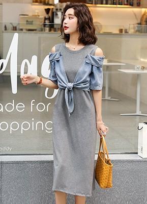 MWD9124C 假两件连衣裙