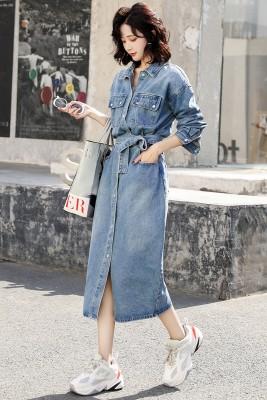 MW9726 长袖牛仔连衣裙