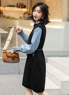 MW9737B 牛仔衬衫+针织裙两件套