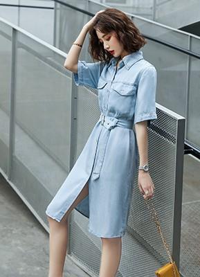 MW0044 短袖牛仔连衣裙