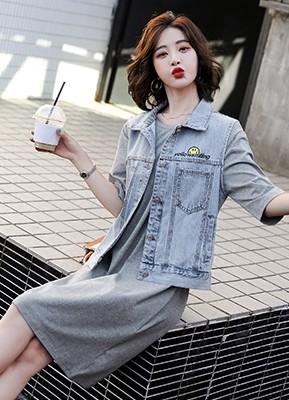 MW1061C 牛仔马甲+连衣裙套装