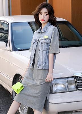 MW1060C 牛仔马甲+连衣裙套装