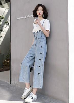 MW1064 牛仔背带裤+T恤两件套